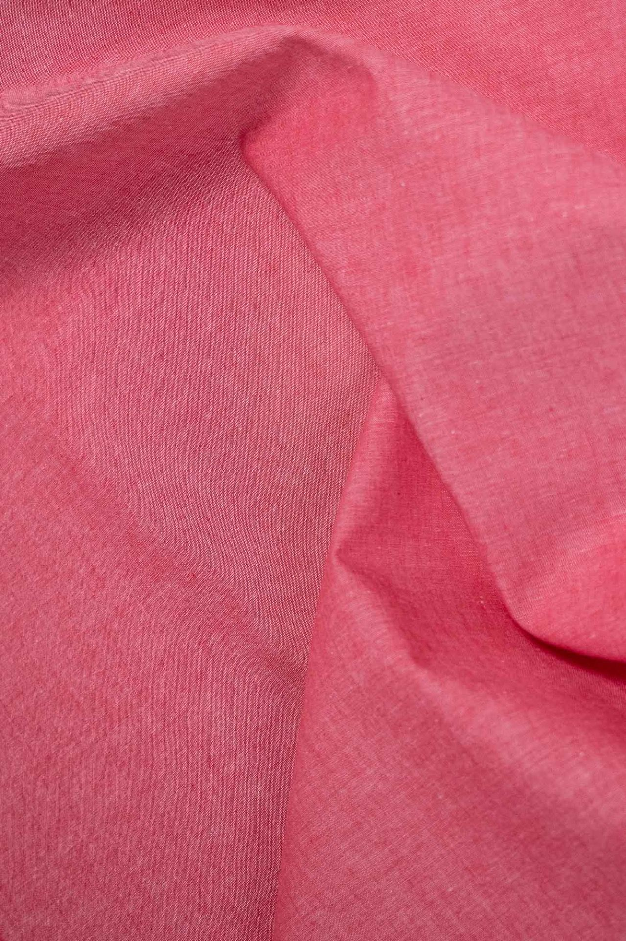 Cotton Chambray Fabric - Plain - Red