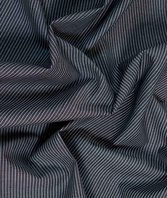 Cotton Chambray Fabric - Pin Stripe - Charcoal