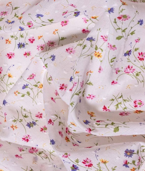 Cotton Lawn Fabric - Dotted Swiss - Little Wildflowers