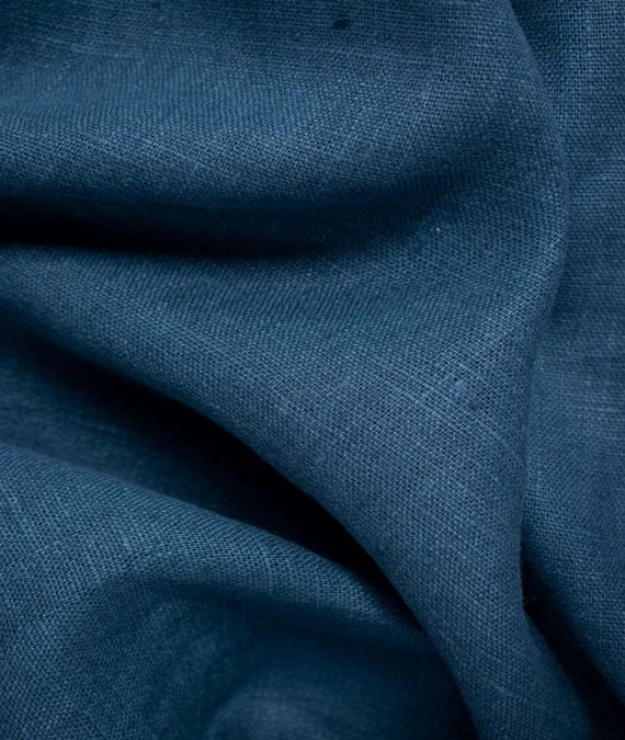 French Linen Fabric - Prussian Blue