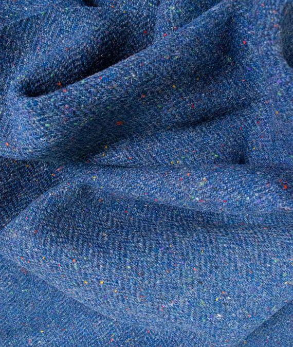 Irish Wool Tweed Fabric - Herringbone - Blue