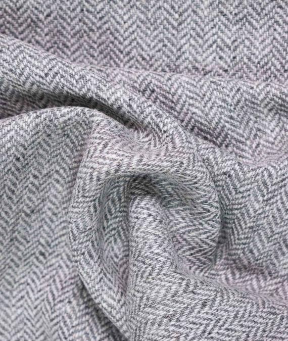 Irish Wool Tweed Fabric - Herringbone - Grey