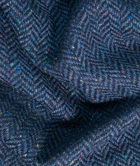 Irish Wool Tweed Fabric - Herringbone - Navy
