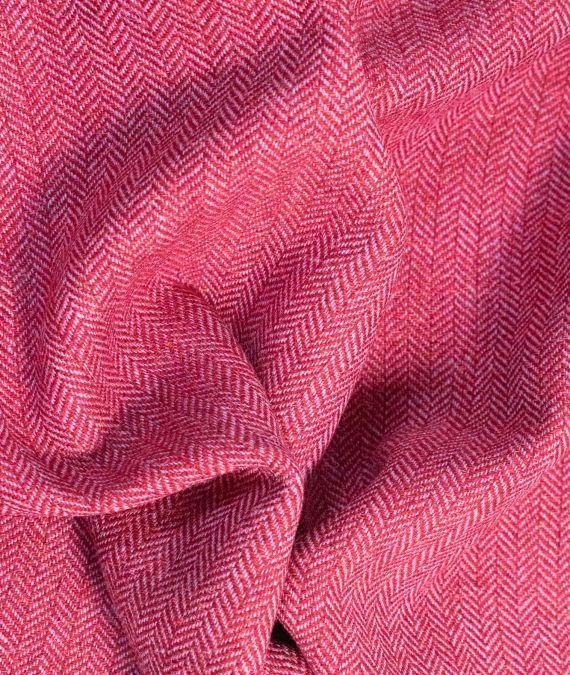 Irish Wool Tweed Fabric with Silk - Herringbone - Red