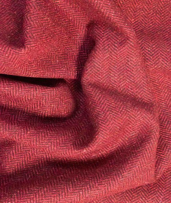 Irish Wool Tweed Fabric with silk - Herringbone - Red Brown