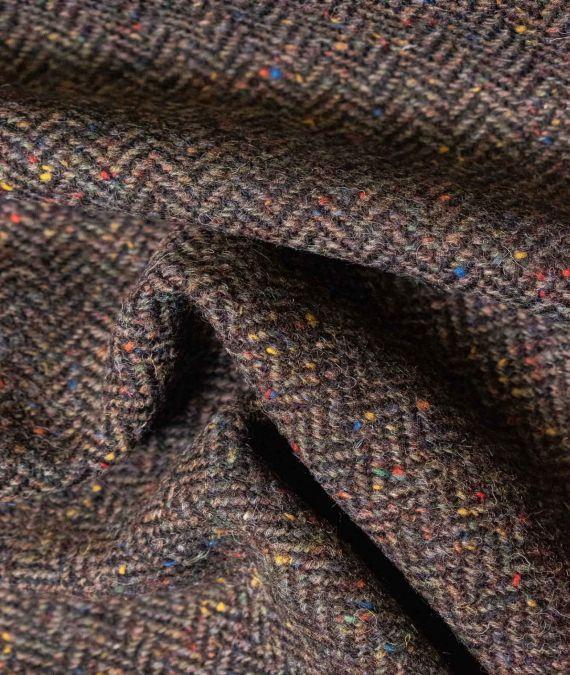 Irish Wool Tweed Fabric - Herringbone - Brown Fleck