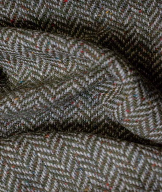 Irish Wool Tweed Fabric - Herringbone - Leaf Green