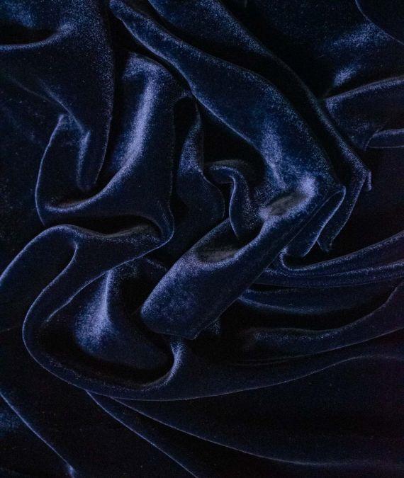 Navy Silk Velvet Fabric_