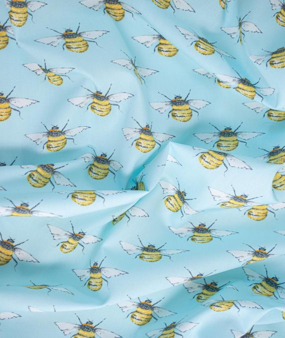 Rose and Hubble Cotton Poplin Fabric - Bees - Sky