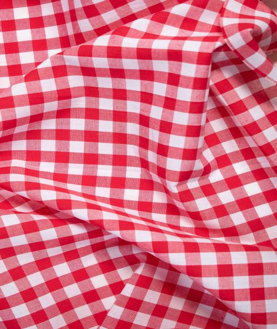 Yarn Dyed Cotton Fabric - Gingham - Red